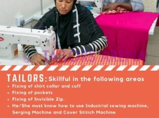 Tailors Needed (We Are Hiring)